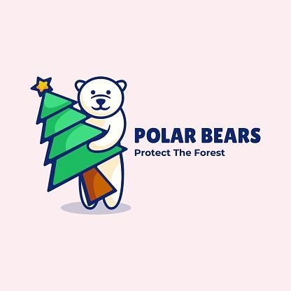 Vector Illustration Polar Bear Simple Mascot Style.