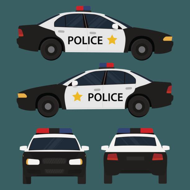 Vector illustration police car. Vector police car, four view, top, side, back, front. Flat illustration icons. police car stock illustrations
