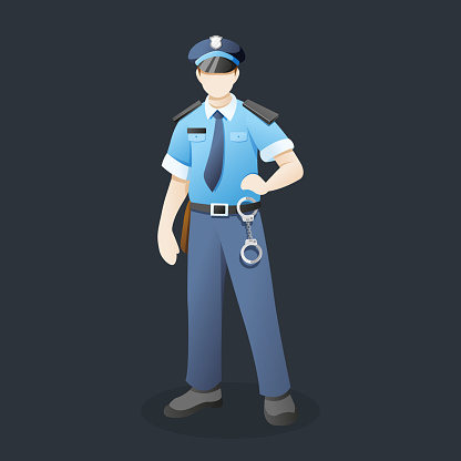 Vector illustration Police officer with standing pose