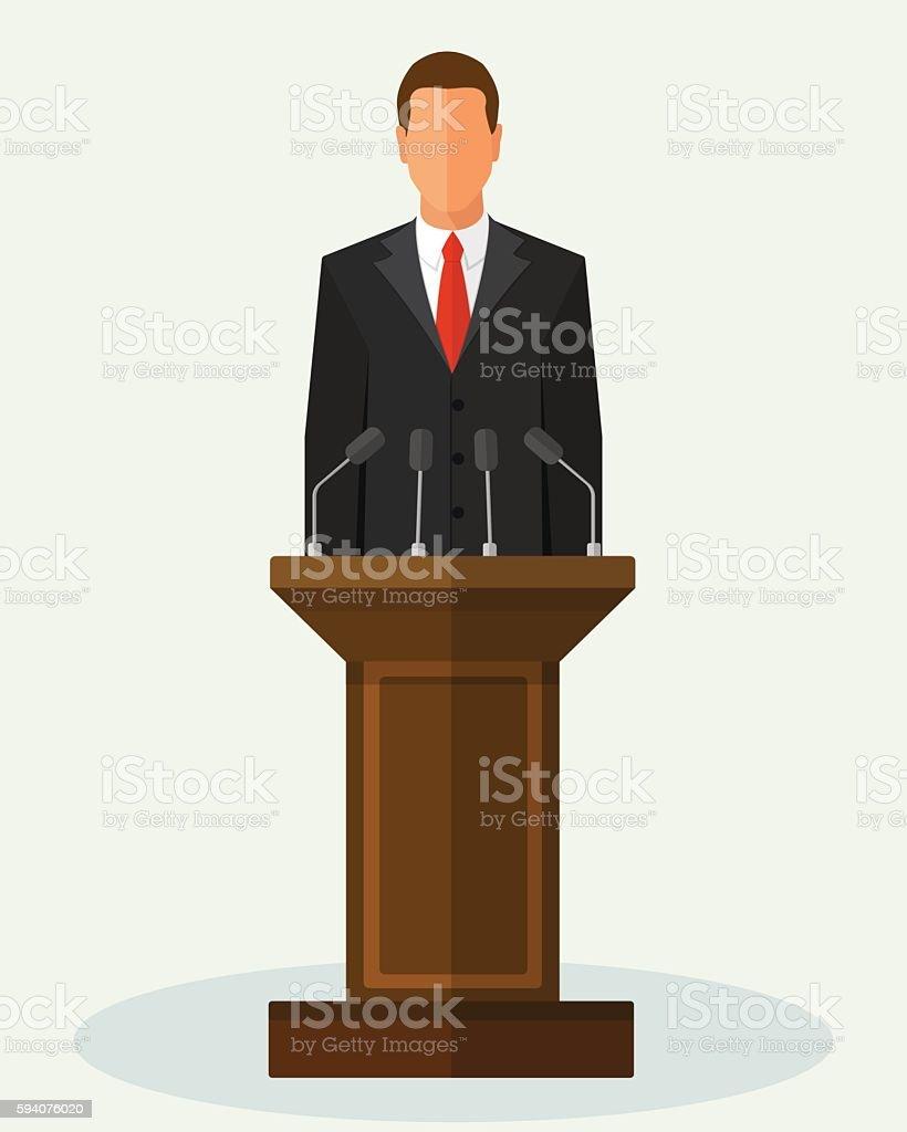 Vector Illustration Politician Man Giving Speech - Illustration vectorielle
