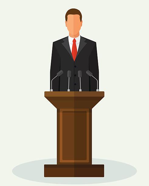 ilustrações, clipart, desenhos animados e ícones de vector illustration politician man giving speech - político