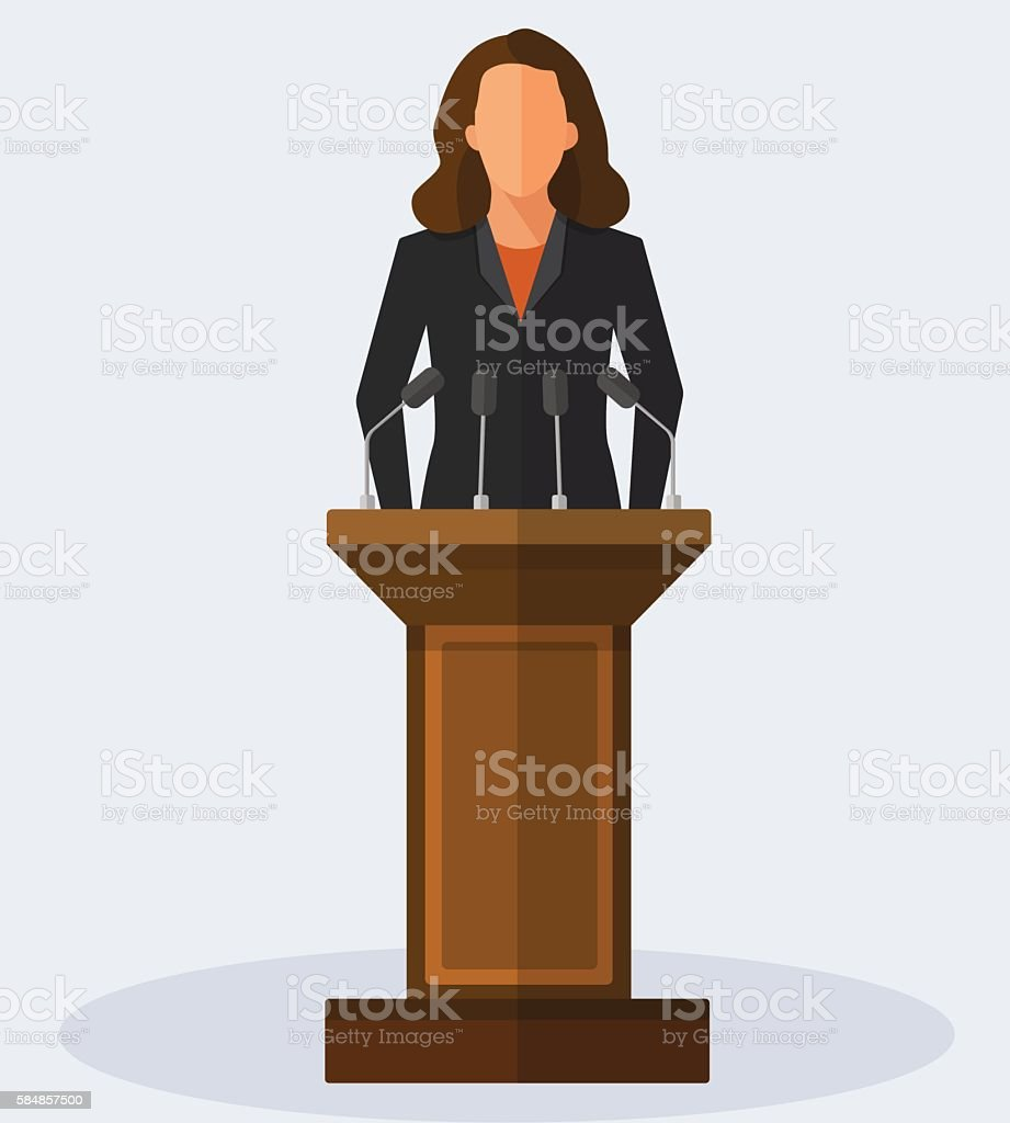 Vector Illustration Politician Woman Giving Speech - ilustración de arte vectorial