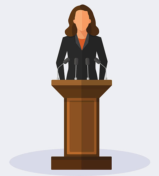 Vector Illustration Politician Woman Giving Speech – Vektorgrafik