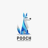 Vector Illustration Pooch Gradient Colorful Style.