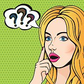 Vector pop art stupid woman face with question marks. Blonde thinking woman with open mouth comics style illustration.