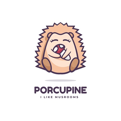 Vector Illustration Porcupine Simple Mascot Style.