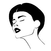 Vector illustration - portrait of a girl with closed eyes with black lipstick in sketched style