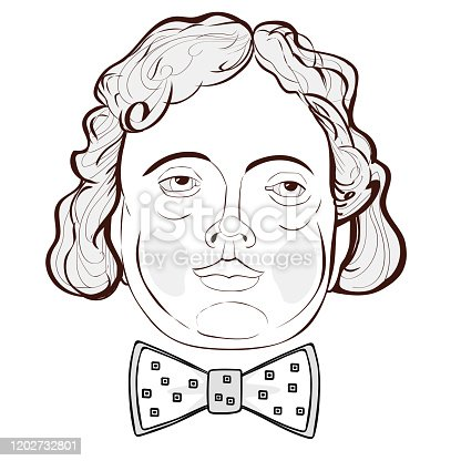 Vector illustration - portrait of a man with long hair in a bow tie with an uncommunicative character on a white background