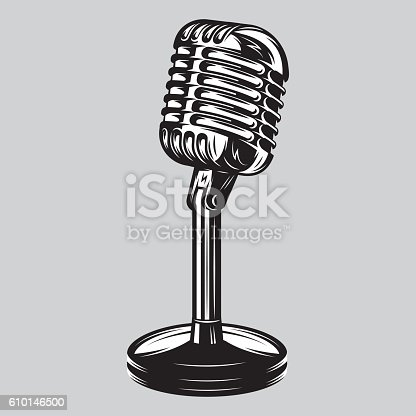 Vector illustration, poster of isolated retro, vintage microphone on the table