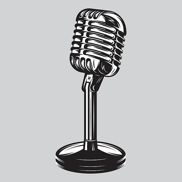 Vector illustration, poster of isolated retro, vintage microphone. Vector illustration, poster of isolated retro, vintage microphone on the table obsolete stock illustrations