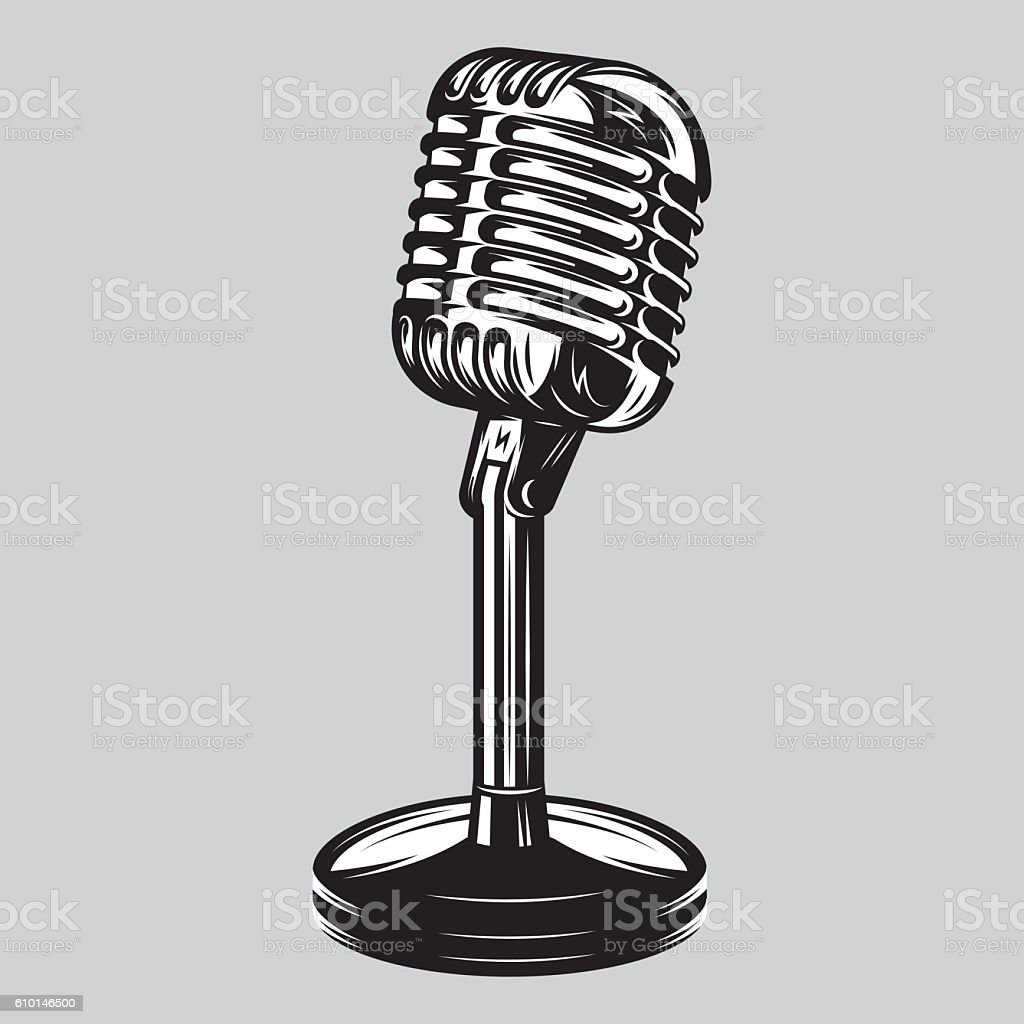 Vector illustration, poster of isolated retro, vintage microphone. vector art illustration