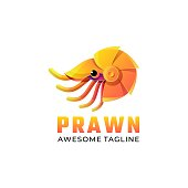Vector Illustration Prawn Gradient Colorful Style.