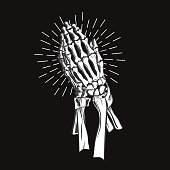 Vector illustration - Praying skeleton hands