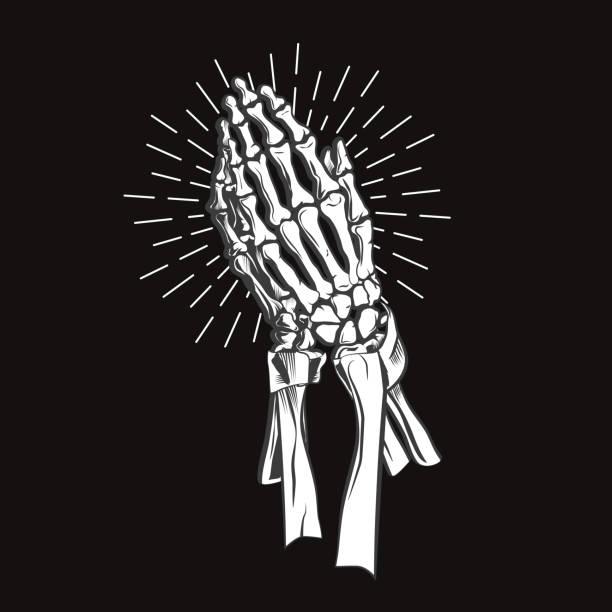向量插畫-祈禱骨架手 - prayer 幅插畫檔、美工圖案、卡通及圖標