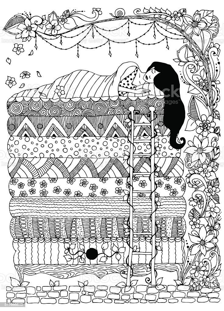 Vector illustration, princess the pea vector art illustration