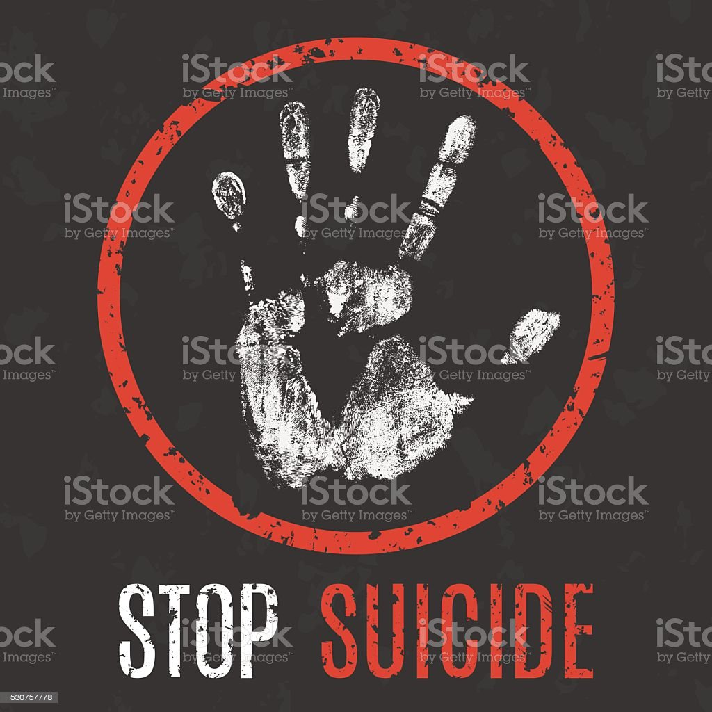 vector illustration. problems of humanity. stop suicide vector art illustration