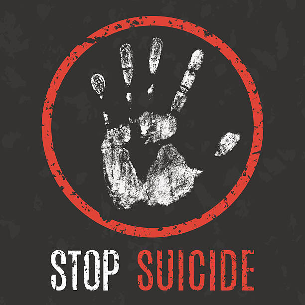 vector illustration. problems of humanity. stop suicide Conceptual vector illustration. problems of humanity. stop suicide suicide stock illustrations