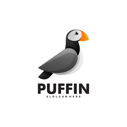 Vector Illustration Puffin Gradient Colorful Style.
