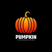 Vector Illustration Pumpkin Gradient Colorful Style.
