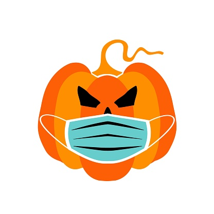 Vector illustration pumpkin wearing face mask for corona virus protection isolated on white background.