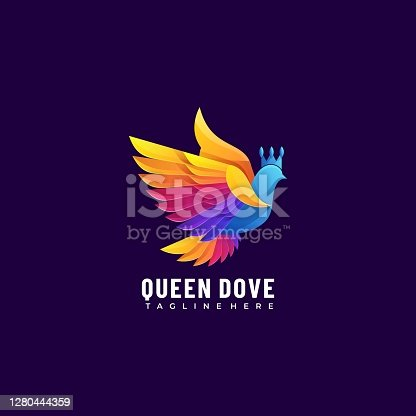 istock Vector Illustration Queen Dove Gradient Colorful Style. 1280444359