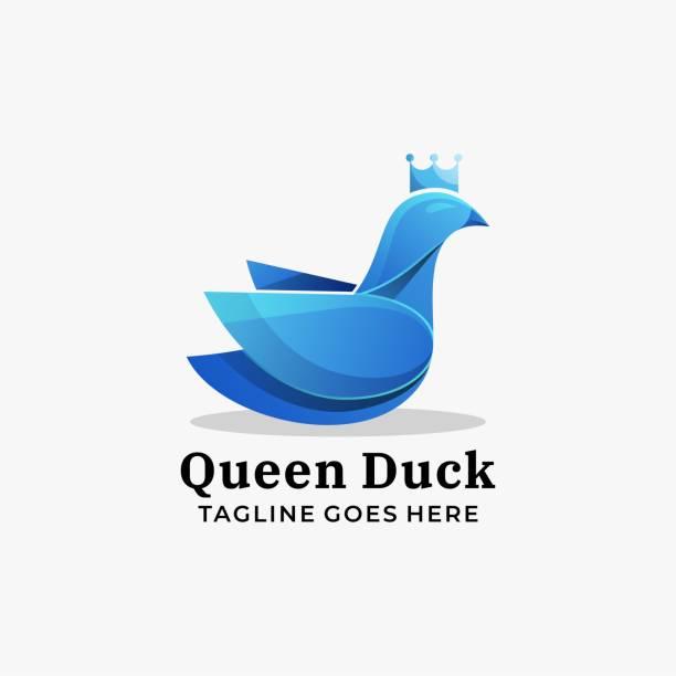 Vector Illustration Queen Duck Gradient Colorful Style. Vector Illustration Queen Duck Gradient Colorful Style. ducking stock illustrations
