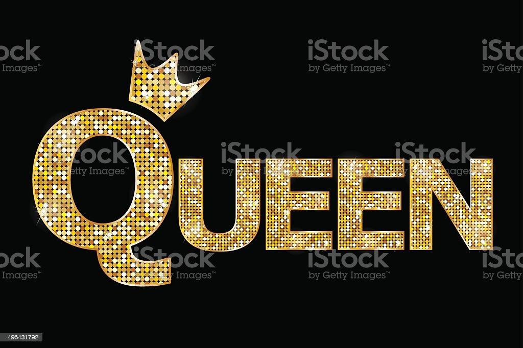 Vector illustration - Queen gold text vector art illustration