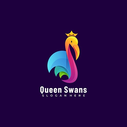 Vector Illustration Queen Swans Gradient Colorful Style.