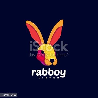 istock Vector Illustration Rabbit Boy Gradient Colorful Style. 1249110493