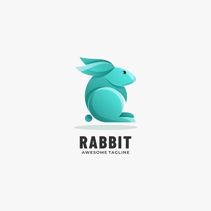 Vector Illustration Rabbit Gradient Colorful Style.