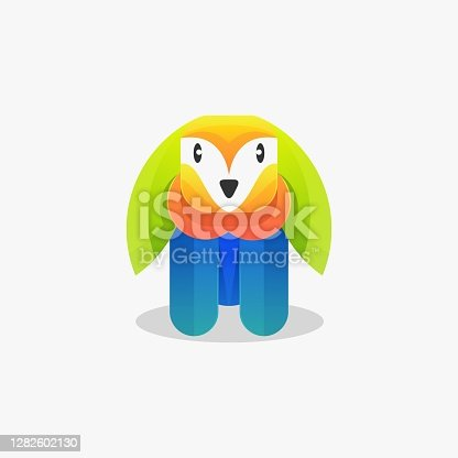 istock Vector Illustration Rabbit Gradient Colorful Style. 1282602130