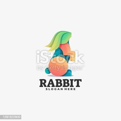 istock Vector Illustration Rabbit Gradient Colorful Style. 1291522920