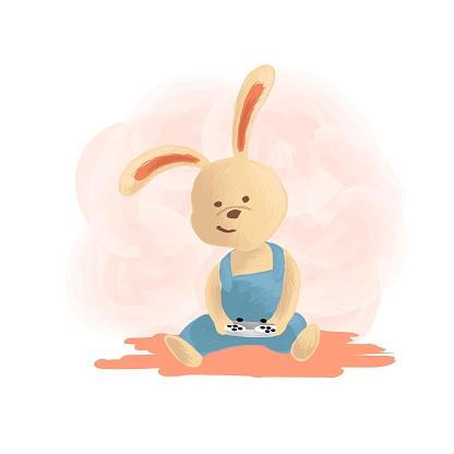Vector Illustration Rabbit Mascot Cartoon Style.