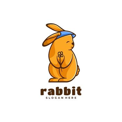 Vector Illustration Rabbit Simple Mascot Style.