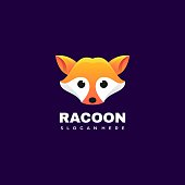 Vector Illustration Raccoon Gradient Colorful Style.