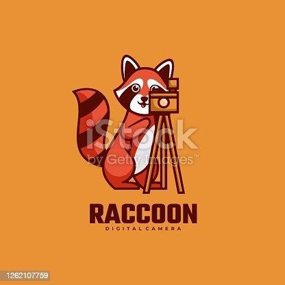 istock Vector Illustration Raccoon Simple Mascot Style. 1262107759