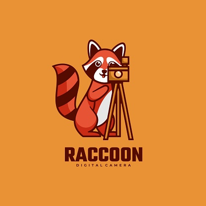 Vector Illustration Raccoon Simple Mascot Style.