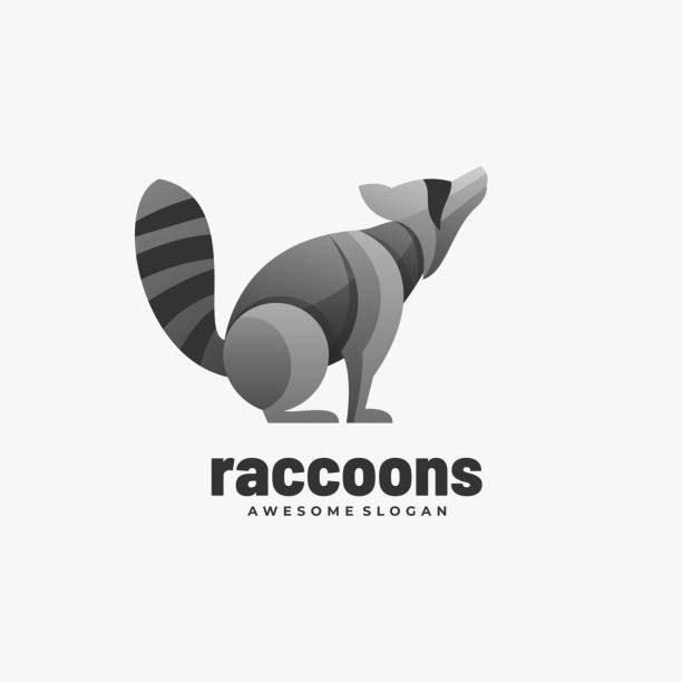 Vector Illustration Raccoons Gradient Colorful Style. Vector Illustration Raccoons Gradient Colorful Style. skunk stock illustrations