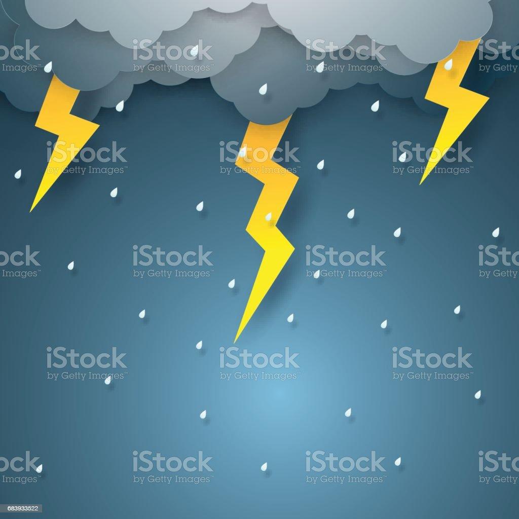 Vector illustration rain with thunderbolt vector art illustration