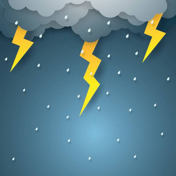 Vector illustration rain with thunderbolt vector art illustration