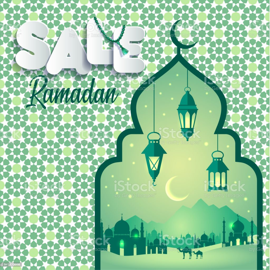 Vector Illustration Ramadan Sale Banner Discount Label Sale Greeting