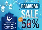 Vector Illustration Ramadan Sale. Banner, Discount, label, Sale, Greeting card, of Ramadan Kareem and Eid Mubarak celebration.