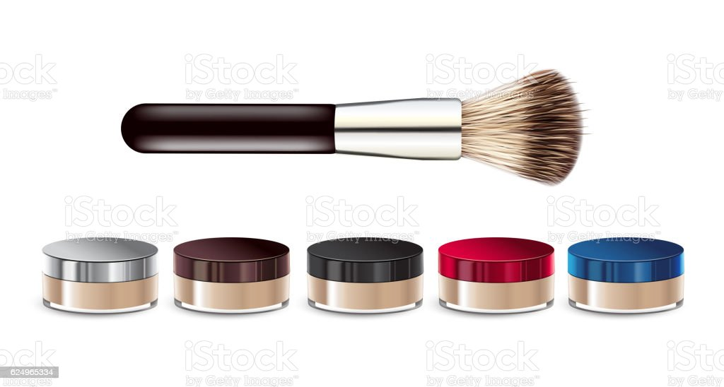 Vector illustration realistic loose mineral powder and brush. vector art illustration
