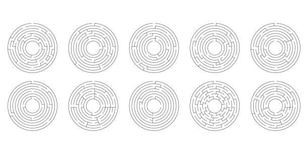 vektor-illustration. realistische newton-wiege oder pendel. metallische blaue kugel. schatten. - labyrinthgarten stock-grafiken, -clipart, -cartoons und -symbole