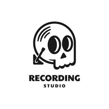 Vector Illustration Recording Studio Line Art Style.