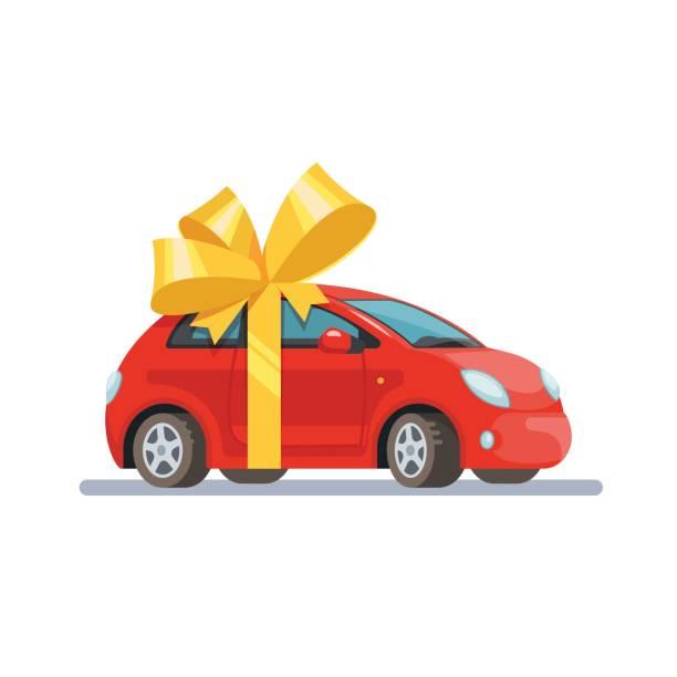 Vektor Illustration rote Autos mit Bogen flach Stil auf weißem Hintergrund. Konzept-Design-Geschenk-Automobil. – Vektorgrafik