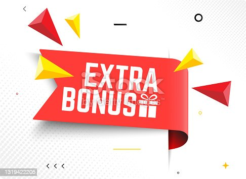 istock Vector Illustration Red Extra Bonus Label. Modern Web Banner Element With Gift 1319422205