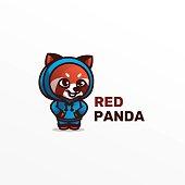 Vector Illustration Red Panda Mascot Cartoon Style.