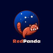 Vector Illustration Red Panda Simple Mascot Style.