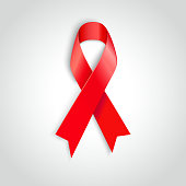 Vector illustration red ribbon - AIDS, HIV, heart disease, stroke
